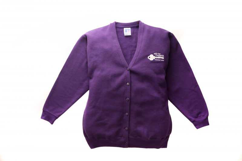 Limited edition Key for Change purple large cardigan